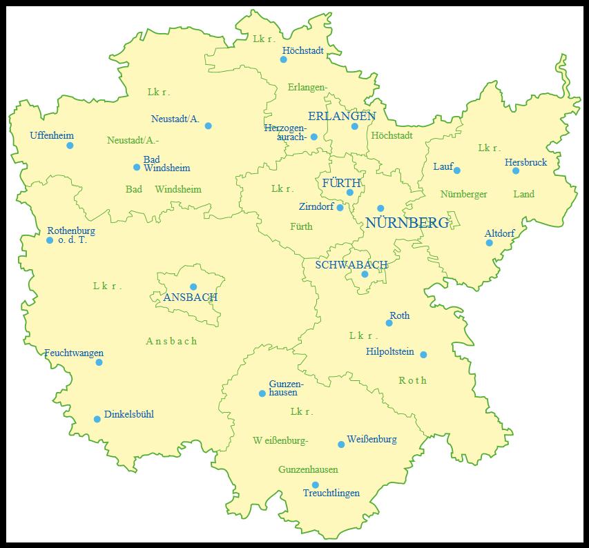 Mittelfranken Karte.Grune Mittelfranken Kreisverbande